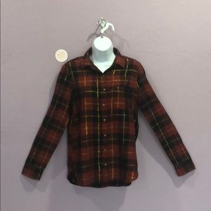 Aeropostale Button Down Red, Black Flannel Blouse